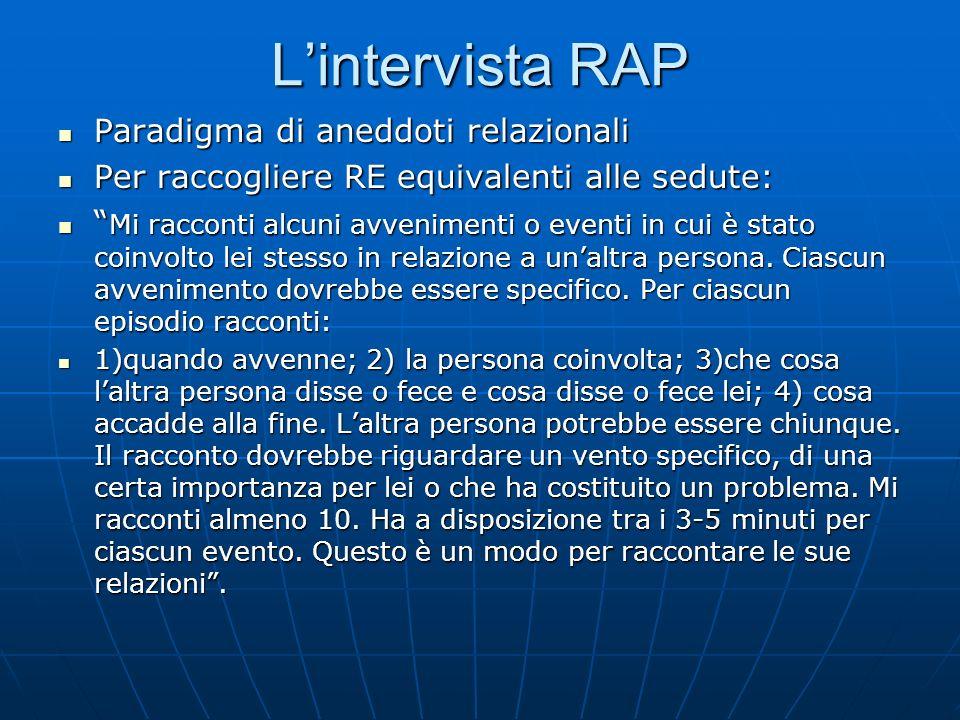 Lintervista RAP Paradigma di aneddoti relazionali Paradigma di aneddoti relazionali Per raccogliere RE equivalenti alle sedute: Per raccogliere RE equ