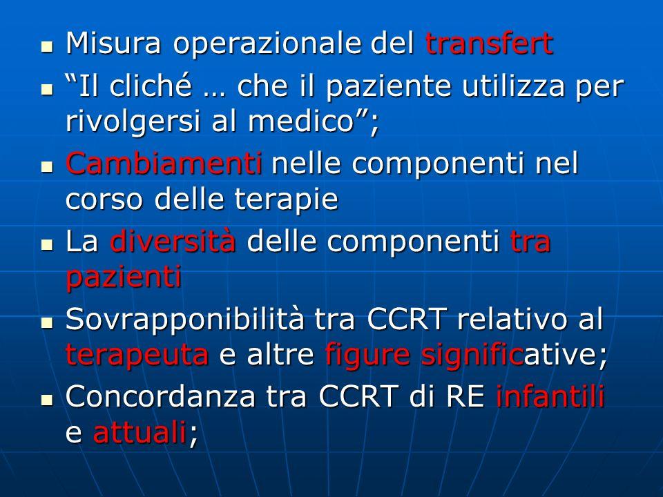 Formulare il CCRT Formulare un CCRT fittizio che considera i W-RO-RS più frequenti Formulare un CCRT fittizio che considera i W-RO-RS più frequenti Temi conflittuali che ricorrono con maggiore frequenza Temi conflittuali che ricorrono con maggiore frequenza