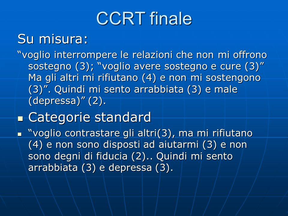 CCRT finale Su misura: voglio interrompere le relazioni che non mi offrono sostegno (3); voglio avere sostegno e cure (3) Ma gli altri mi rifiutano (4