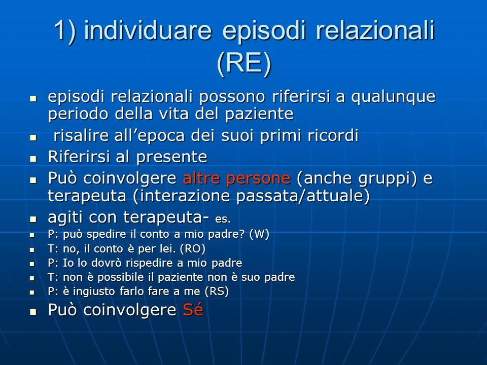 1) individuare episodi relazionali (RE) episodi relazionali possono riferirsi a qualunque periodo della vita del paziente episodi relazionali possono