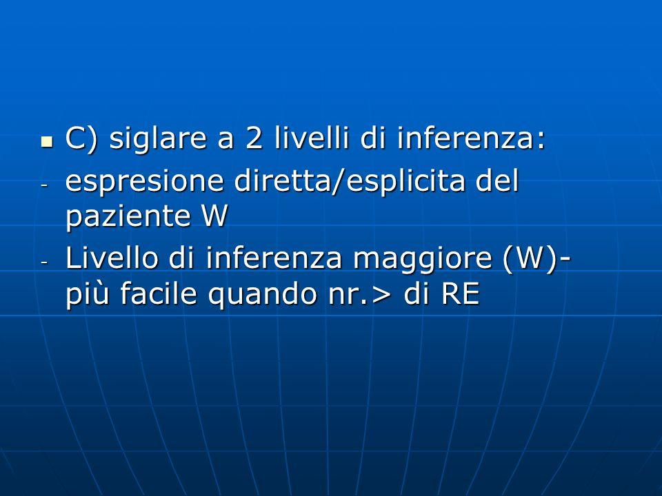C) siglare a 2 livelli di inferenza: C) siglare a 2 livelli di inferenza: - espresione diretta/esplicita del paziente W - Livello di inferenza maggior