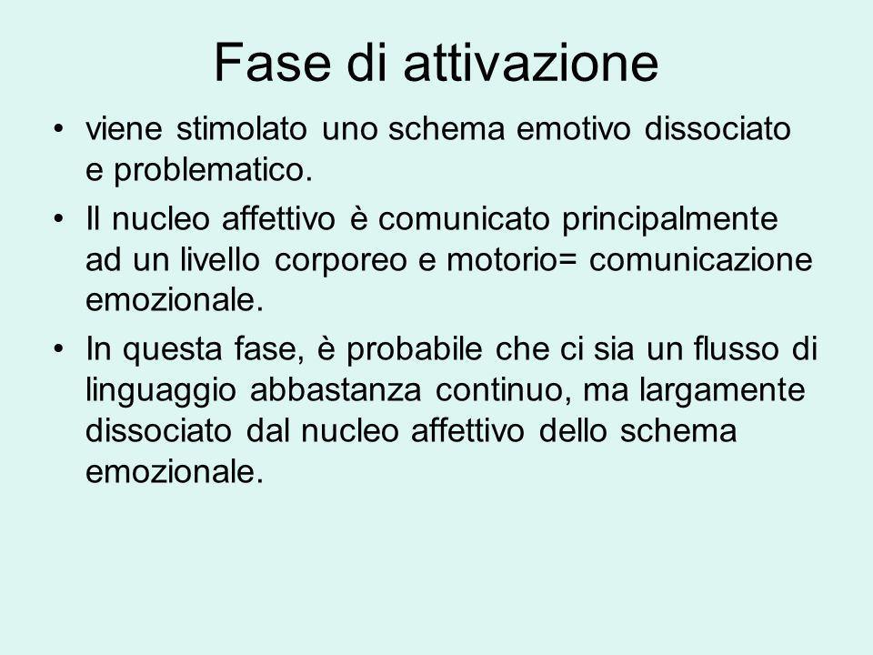 Fase di attivazione viene stimolato uno schema emotivo dissociato e problematico. Il nucleo affettivo è comunicato principalmente ad un livello corpor