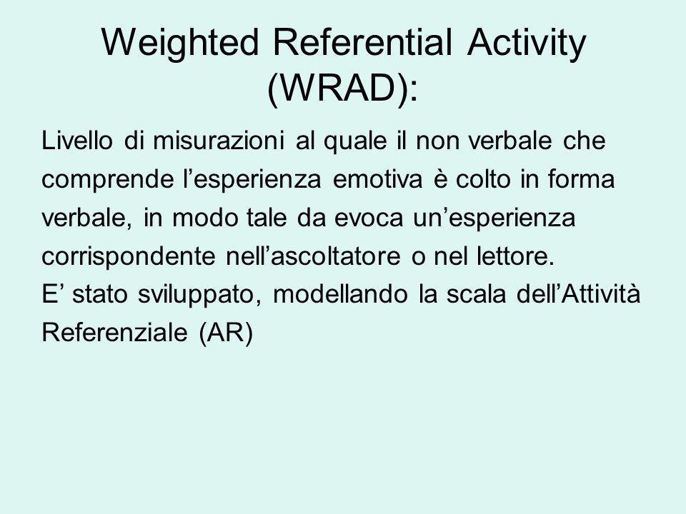 Weighted Referential Activity (WRAD): Livello di misurazioni al quale il non verbale che comprende lesperienza emotiva è colto in forma verbale, in mo