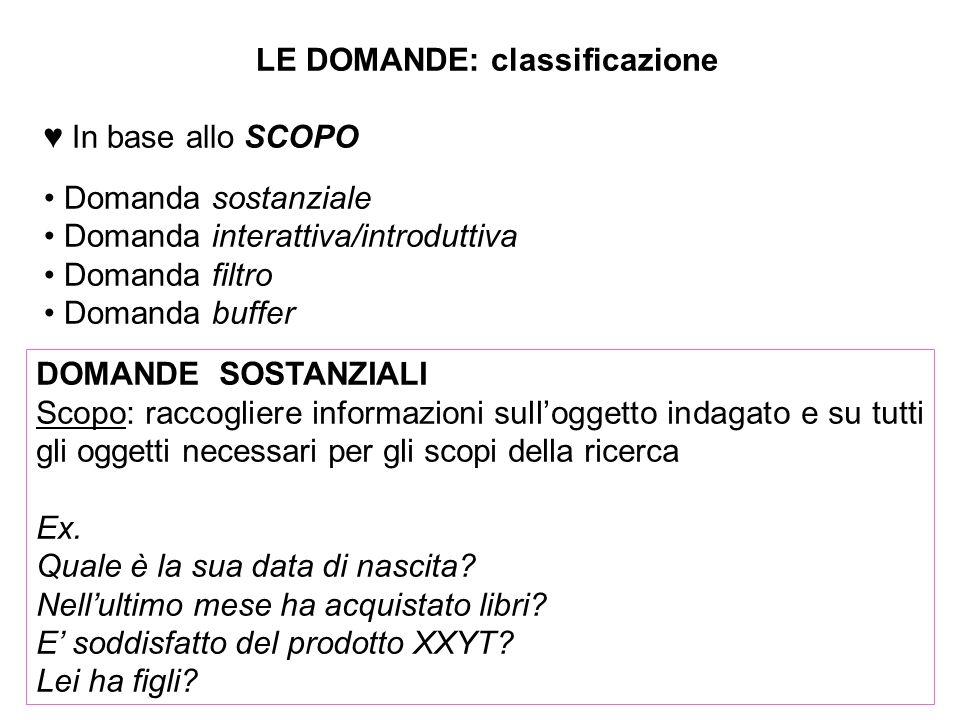 LE DOMANDE: classificazione In base allo SCOPO Domanda sostanziale Domanda interattiva/introduttiva Domanda filtro Domanda buffer DOMANDE SOSTANZIALI