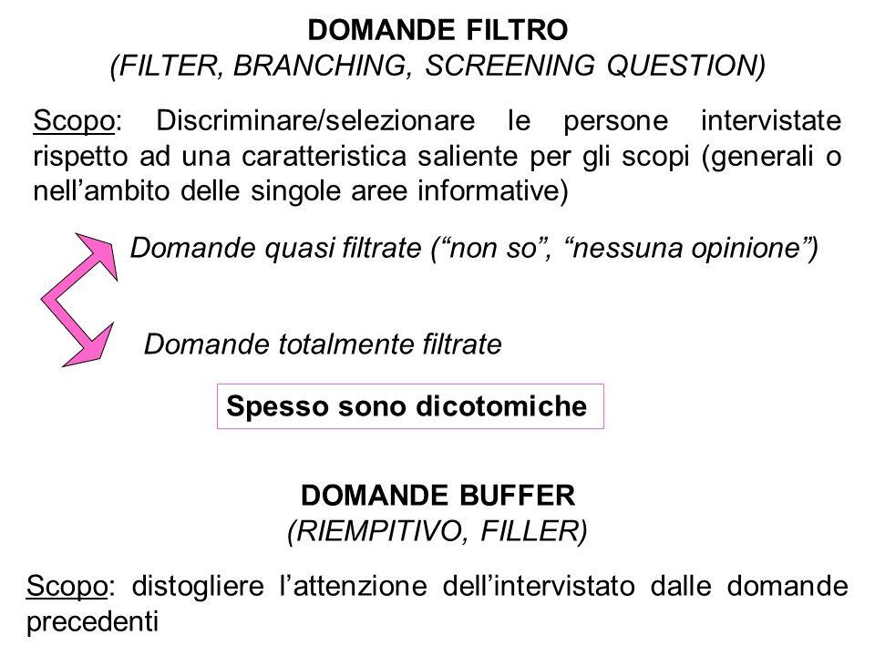 DOMANDE FILTRO (FILTER, BRANCHING, SCREENING QUESTION) Scopo: Discriminare/selezionare le persone intervistate rispetto ad una caratteristica saliente