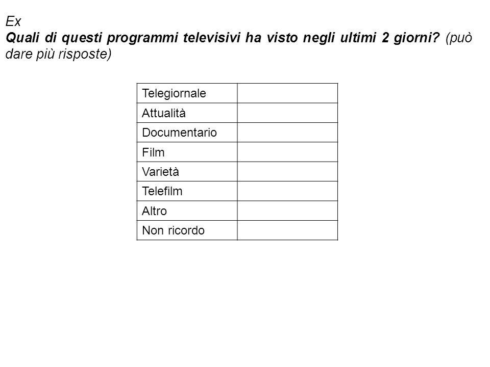 Ex Quali di questi programmi televisivi ha visto negli ultimi 2 giorni? (può dare più risposte) Telegiornale Attualità Documentario Film Varietà Telef