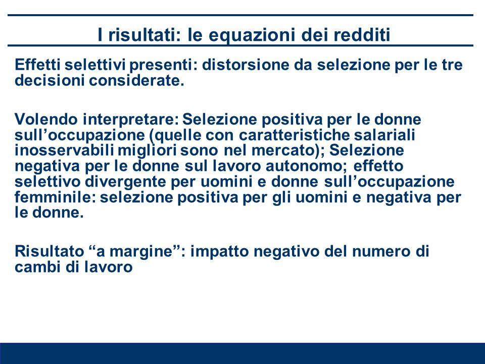 I risultati: le equazioni dei redditi Effetti selettivi presenti: distorsione da selezione per le tre decisioni considerate. Volendo interpretare: Sel