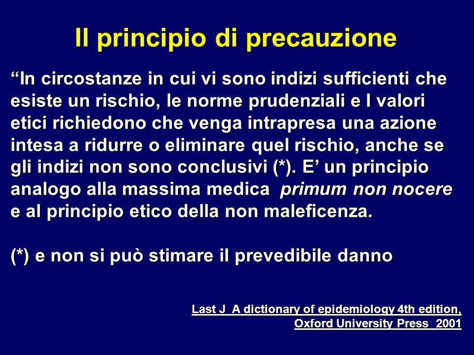 Il principio di precauzione In circostanze in cui vi sono indizi sufficienti che esiste un rischio, le norme prudenziali e I valori etici richiedono c