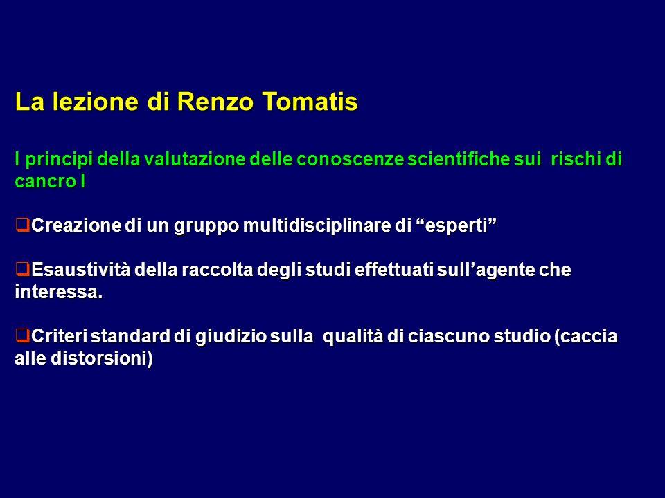 La lezione di Renzo Tomatis I principi della valutazione delle conoscenze scientifiche sui rischi di cancro I Creazione di un gruppo multidisciplinare