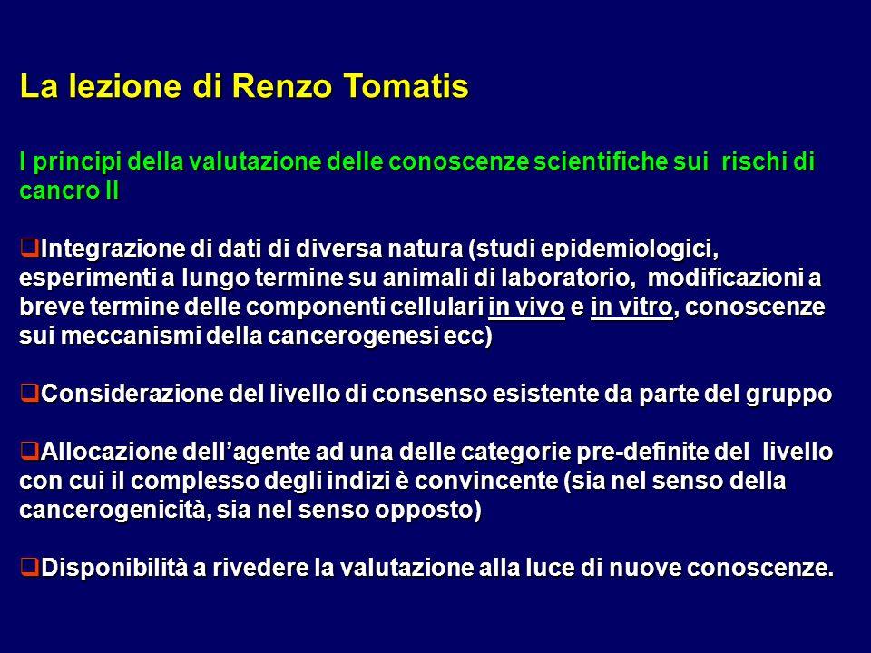 La lezione di Renzo Tomatis I principi della valutazione delle conoscenze scientifiche sui rischi di cancro II Integrazione di dati di diversa natura