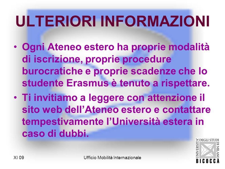 XI 09Ufficio Mobilità Internazionale UFFICIO MOBILITÀ INTERNAZIONALE Sportello n.