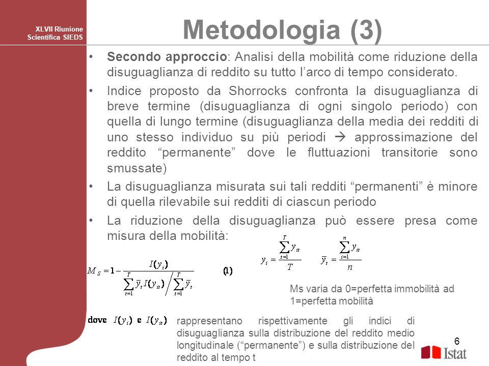6 Metodologia (3) XLVII Riunione Scientifica SIEDS Secondo approccio: Analisi della mobilità come riduzione della disuguaglianza di reddito su tutto l