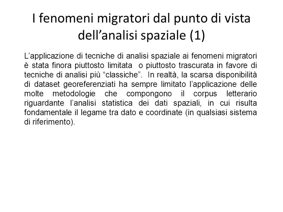 I fenomeni migratori dal punto di vista dellanalisi spaziale (2) Negli ultimi anni, lo sviluppo delle tecnologie informatiche, in particolare i GIS e, più in generale, le basi di dati, ha comunque favorito a incrementare linteresse della comunità scientifica verso questo tipo di analisi.