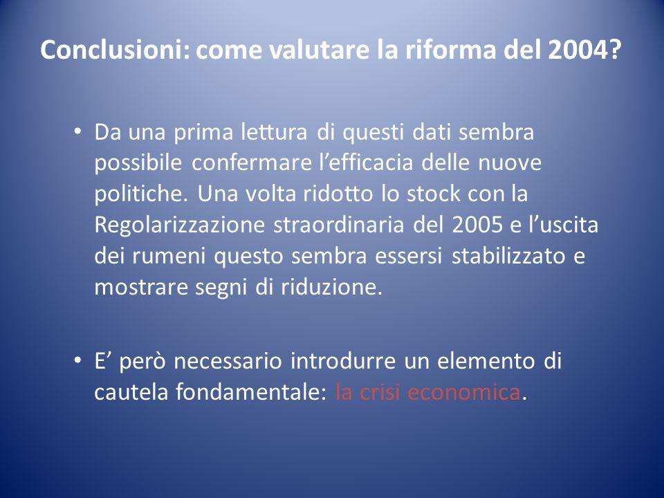 Conclusioni: come valutare la riforma del 2004? Da una prima lettura di questi dati sembra possibile confermare lefficacia delle nuove politiche. Una