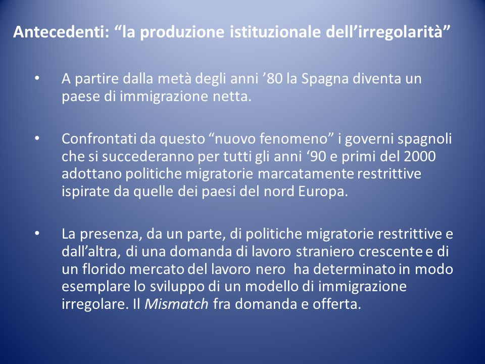 Antecedenti: la produzione istituzionale dellirregolarità A partire dalla metà degli anni 80 la Spagna diventa un paese di immigrazione netta.