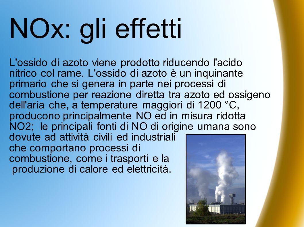 NOx: gli effetti L'ossido di azoto viene prodotto riducendo l'acido nitrico col rame. L'ossido di azoto è un inquinante primario che si genera in part