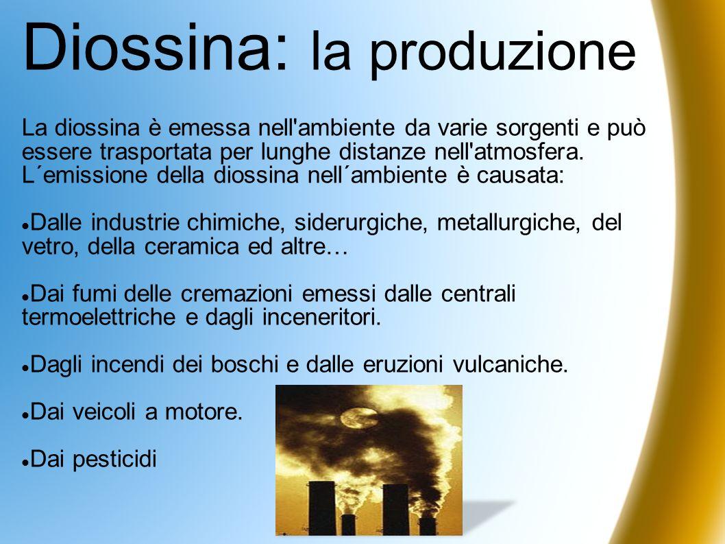 Diossina: la produzione La diossina è emessa nell'ambiente da varie sorgenti e può essere trasportata per lunghe distanze nell'atmosfera. L´emissione