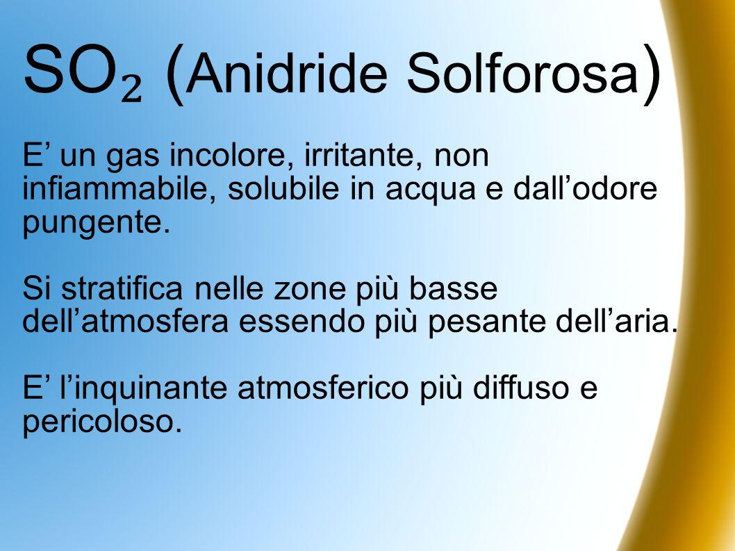 SO ( Anidride Solforosa ) E un gas incolore, irritante, non infiammabile, solubile in acqua e dallodore pungente. Si stratifica nelle zone più basse d