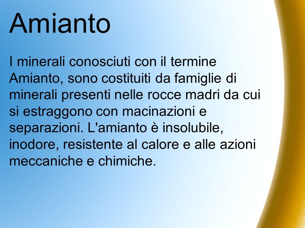 Amianto I minerali conosciuti con il termine Amianto, sono costituiti da famiglie di minerali presenti nelle rocce madri da cui si estraggono con maci