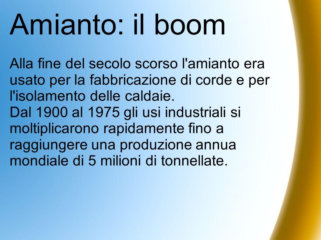Amianto: il boom Alla fine del secolo scorso l'amianto era usato per la fabbricazione di corde e per l'isolamento delle caldaie. Dal 1900 al 1975 gli