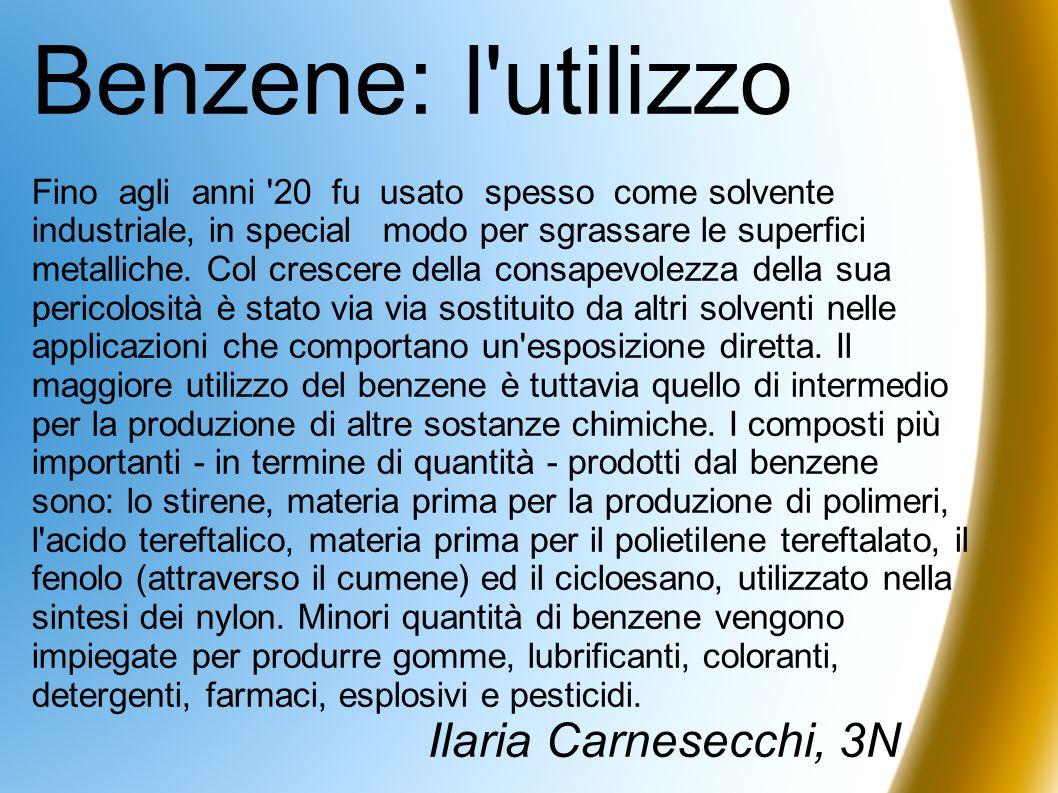 Benzene: l'utilizzo Fino agli anni '20 fu usato spesso come solvente industriale, in special modo per sgrassare le superfici metalliche. Col crescere