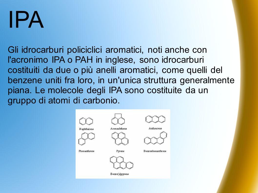IPA Gli idrocarburi policiclici aromatici, noti anche con l'acronimo IPA o PAH in inglese, sono idrocarburi costituiti da due o più anelli aromatici,