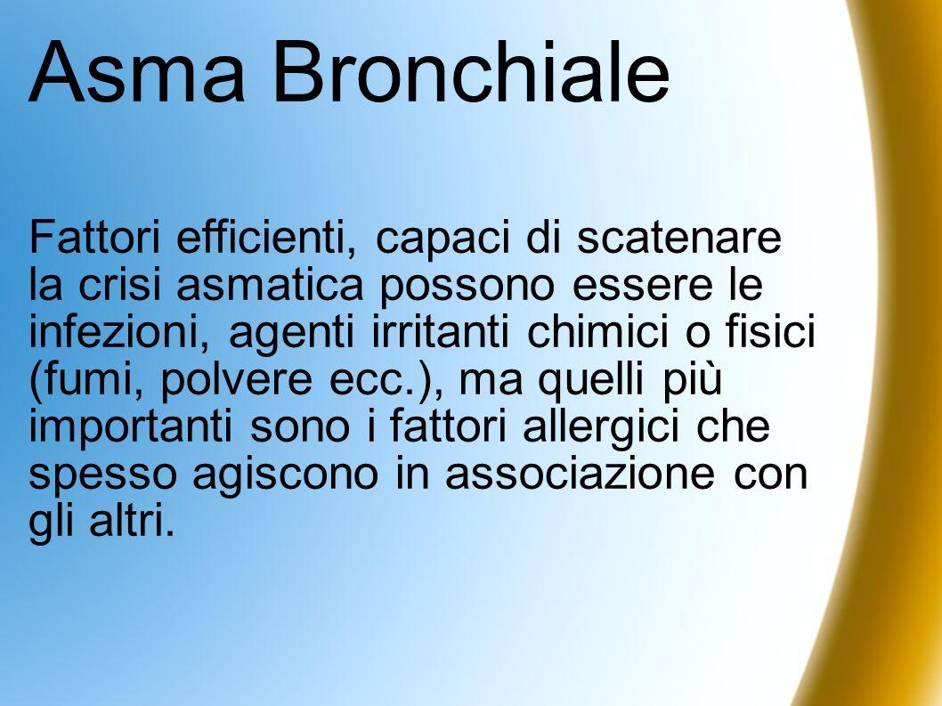 Asma Bronchiale Fattori efficienti, capaci di scatenare la crisi asmatica possono essere le infezioni, agenti irritanti chimici o fisici (fumi, polver