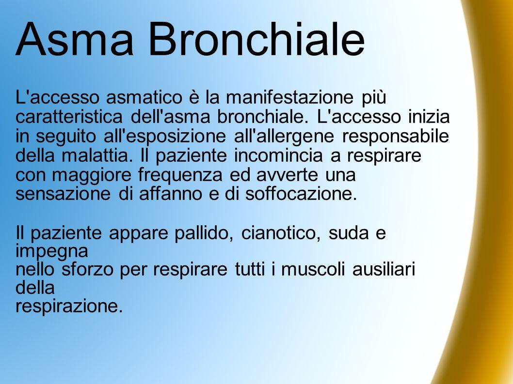 Asma Bronchiale L'accesso asmatico è la manifestazione più caratteristica dell'asma bronchiale. L'accesso inizia in seguito all'esposizione all'allerg