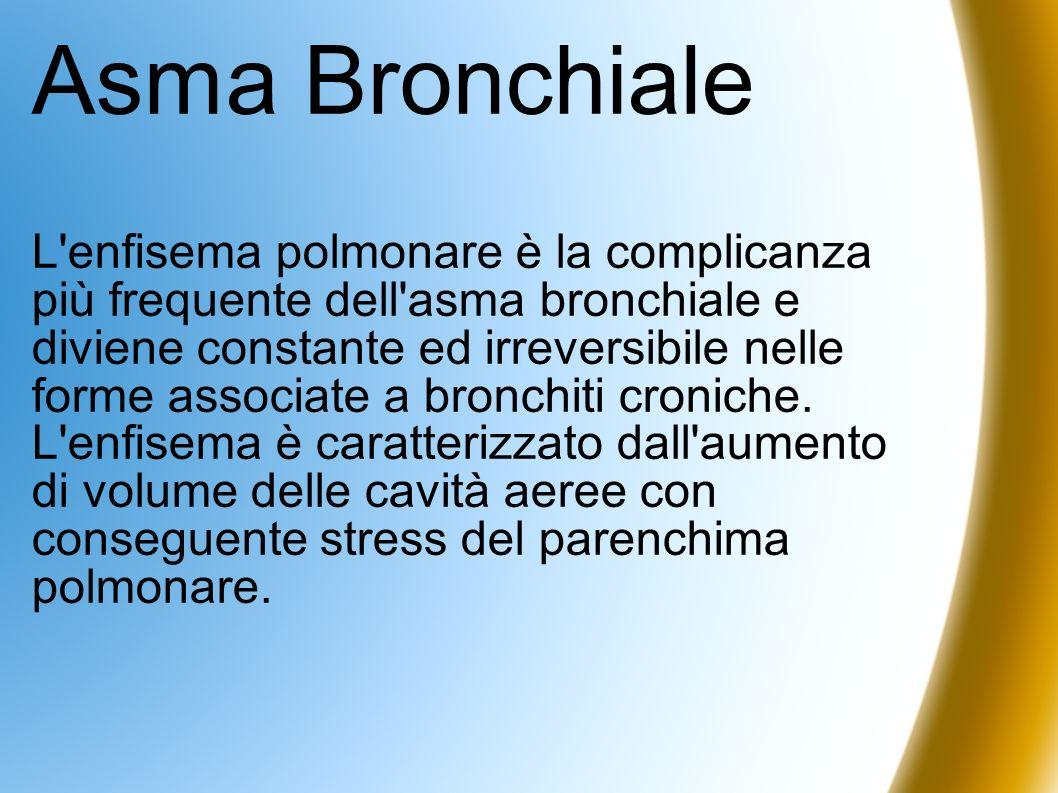 Asma Bronchiale L'enfisema polmonare è la complicanza più frequente dell'asma bronchiale e diviene constante ed irreversibile nelle forme associate a