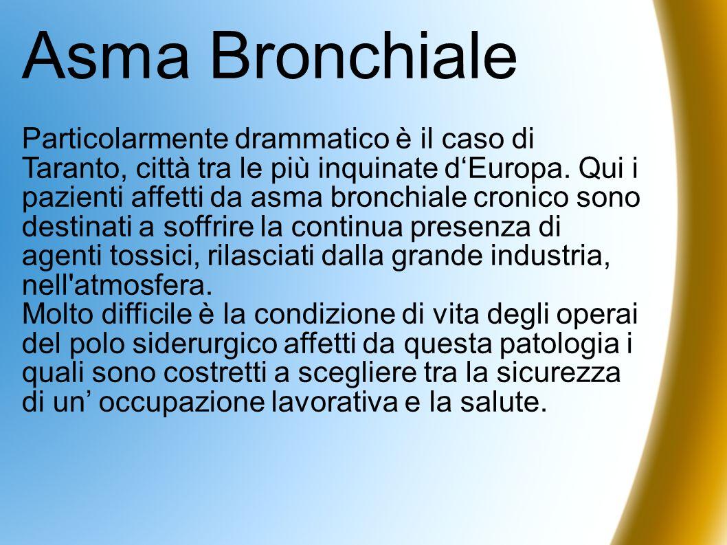 Asma Bronchiale Particolarmente drammatico è il caso di Taranto, città tra le più inquinate dEuropa. Qui i pazienti affetti da asma bronchiale cronico
