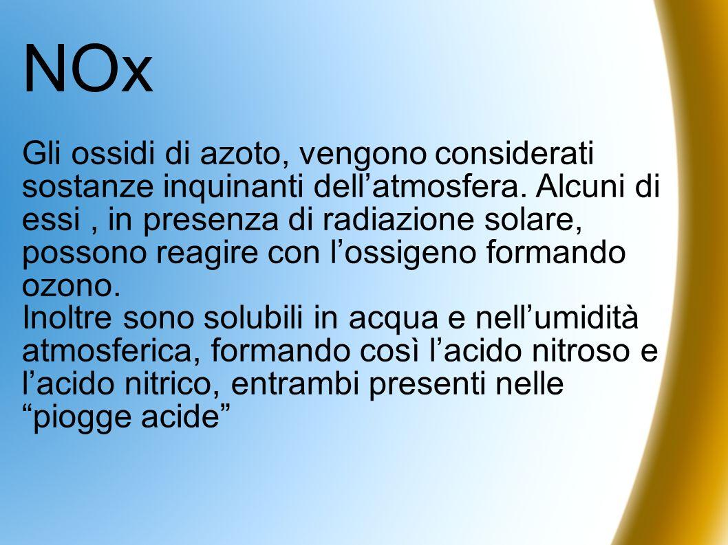 NOx Gli ossidi di azoto, vengono considerati sostanze inquinanti dellatmosfera. Alcuni di essi, in presenza di radiazione solare, possono reagire con