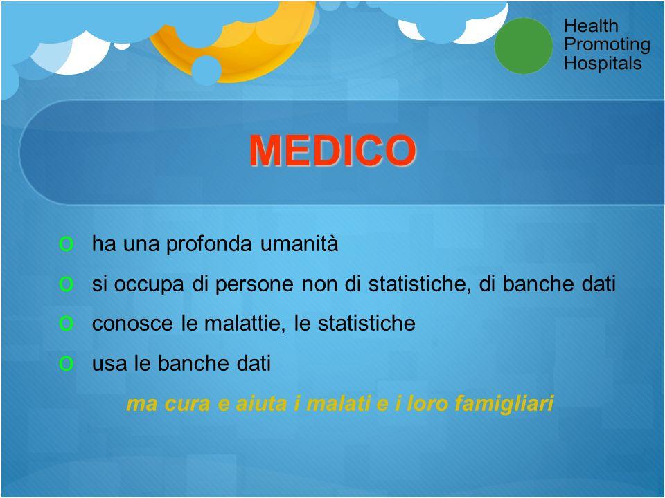 MEDICO o ha una profonda umanità o si occupa di persone non di statistiche, di banche dati o conosce le malattie, le statistiche o usa le banche dati ma cura e aiuta i malati e i loro famigliari