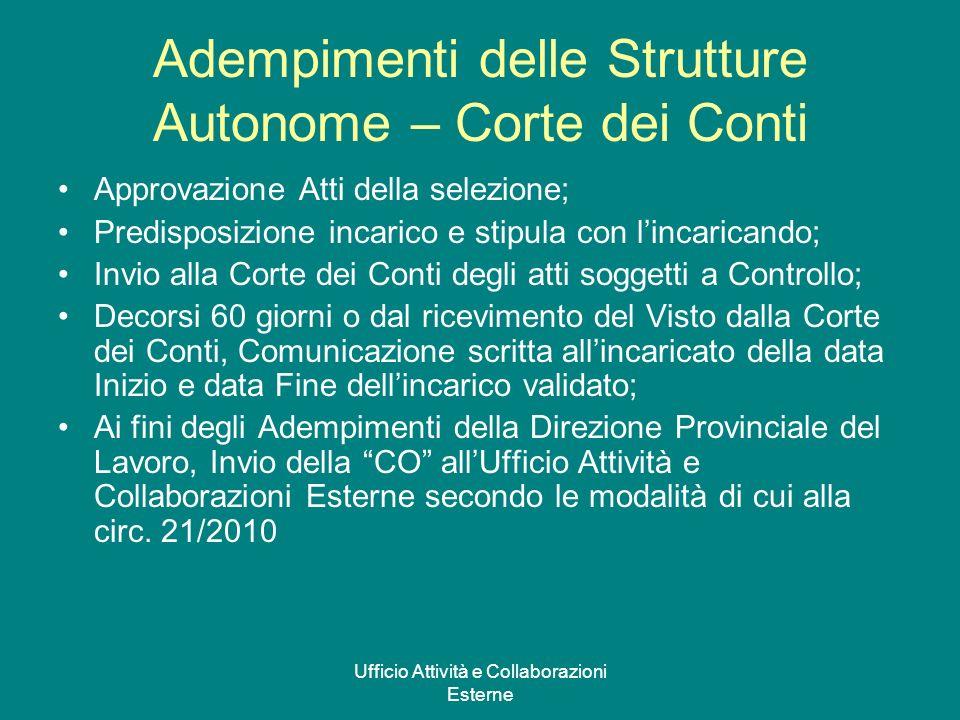 Ufficio Attività e Collaborazioni Esterne Adempimenti delle Strutture Autonome – Corte dei Conti Approvazione Atti della selezione; Predisposizione in