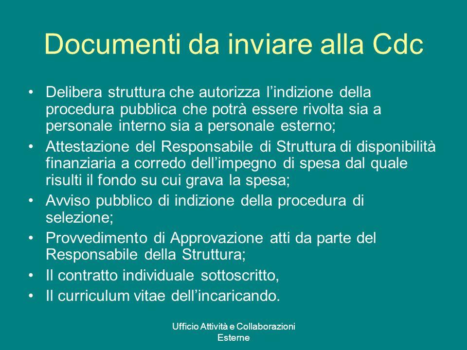 Ufficio Attività e Collaborazioni Esterne Documenti da inviare alla Cdc Delibera struttura che autorizza lindizione della procedura pubblica che potrà