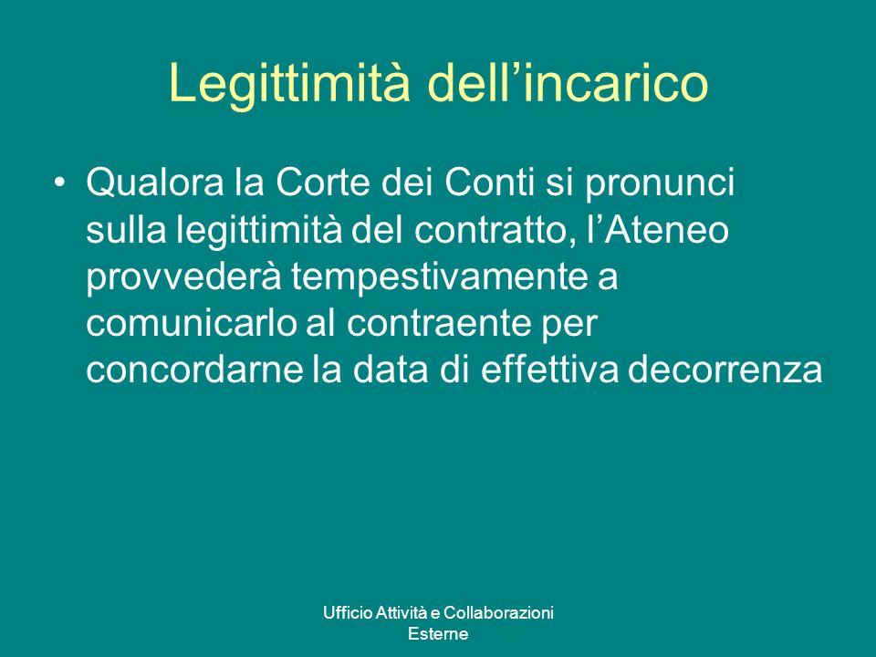 Ufficio Attività e Collaborazioni Esterne Legittimità dellincarico Qualora la Corte dei Conti si pronunci sulla legittimità del contratto, lAteneo pro