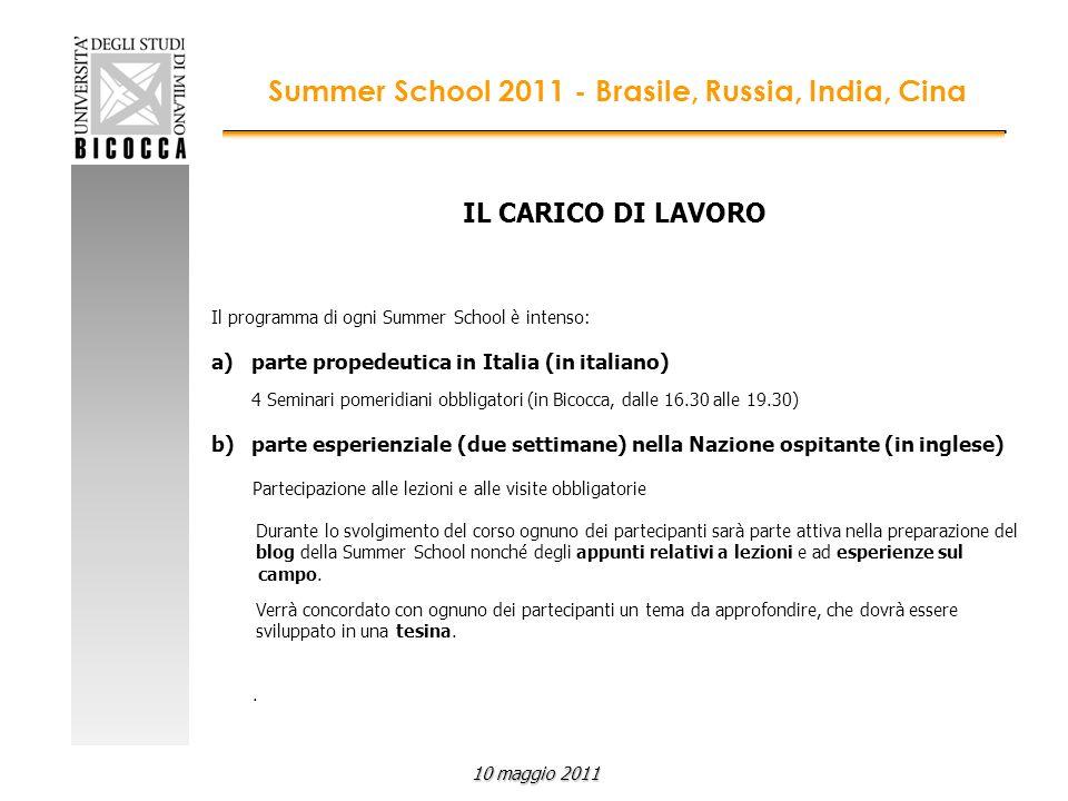IL CARICO DI LAVORO Il programma di ogni Summer School è intenso: a)parte propedeutica in Italia (in italiano) 4 Seminari pomeridiani obbligatori (in