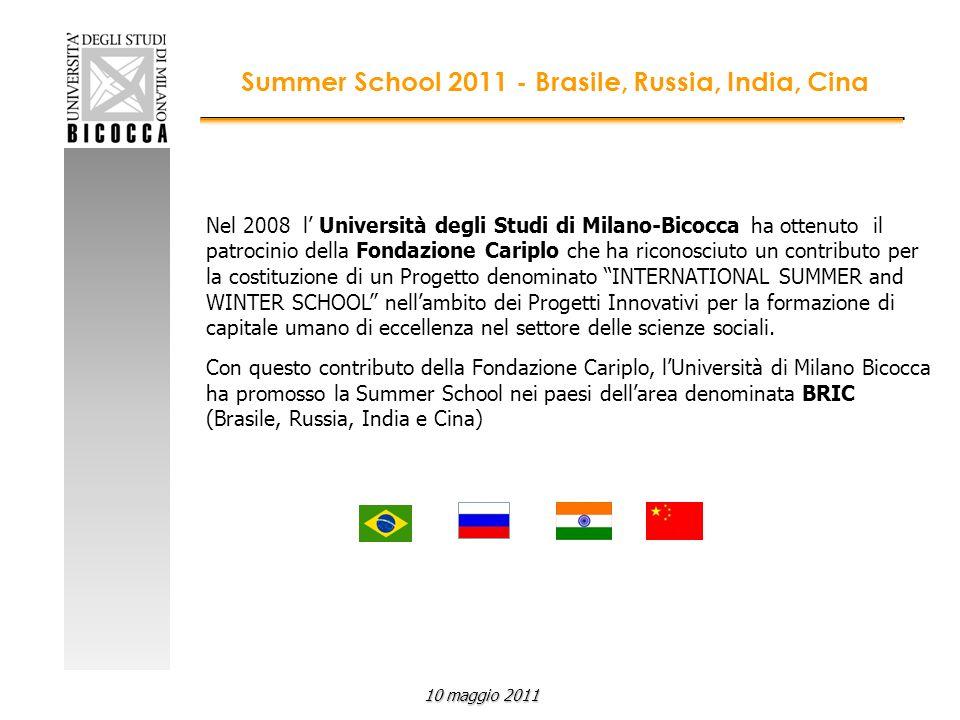 Nel 2008 l Università degli Studi di Milano-Bicocca ha ottenuto il patrocinio della Fondazione Cariplo che ha riconosciuto un contributo per la costituzione di un Progetto denominato INTERNATIONAL SUMMER and WINTER SCHOOL nellambito dei Progetti Innovativi per la formazione di capitale umano di eccellenza nel settore delle scienze sociali.