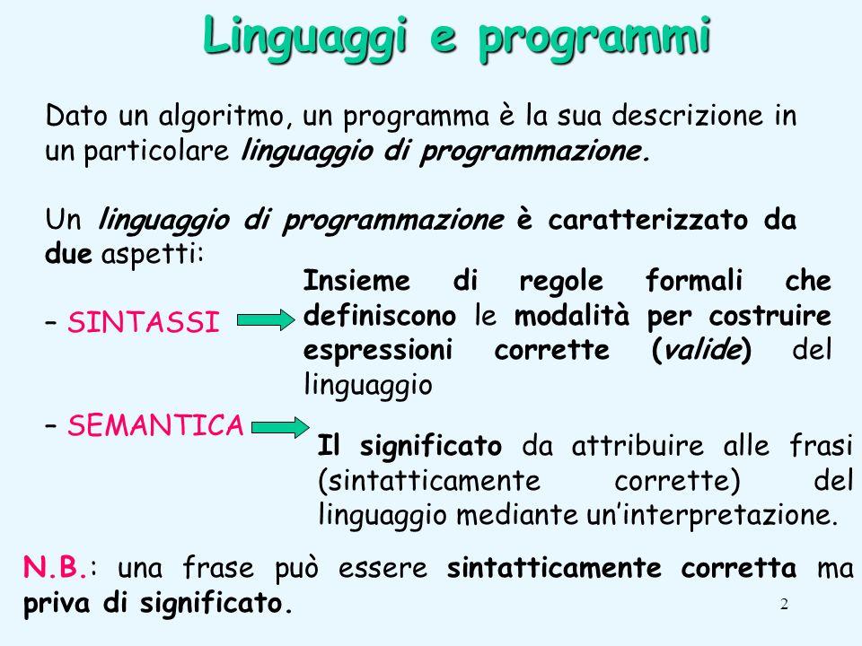 2 Linguaggi e programmi Dato un algoritmo, un programma è la sua descrizione in un particolare linguaggio di programmazione.