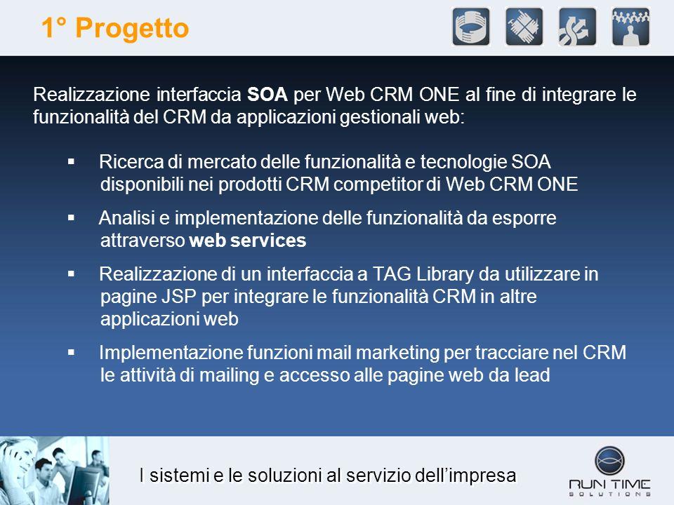 I sistemi e le soluzioni al servizio dellimpresa 1° Progetto Realizzazione interfaccia SOA per Web CRM ONE al fine di integrare le funzionalità del CR