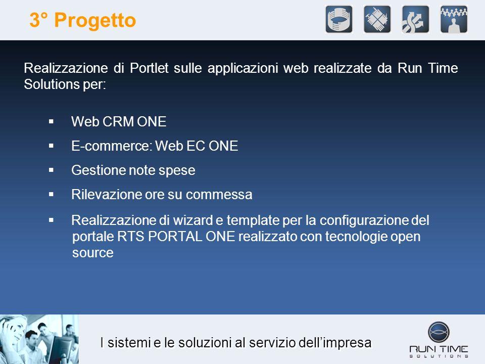 I sistemi e le soluzioni al servizio dellimpresa 3° Progetto Realizzazione di Portlet sulle applicazioni web realizzate da Run Time Solutions per: Web
