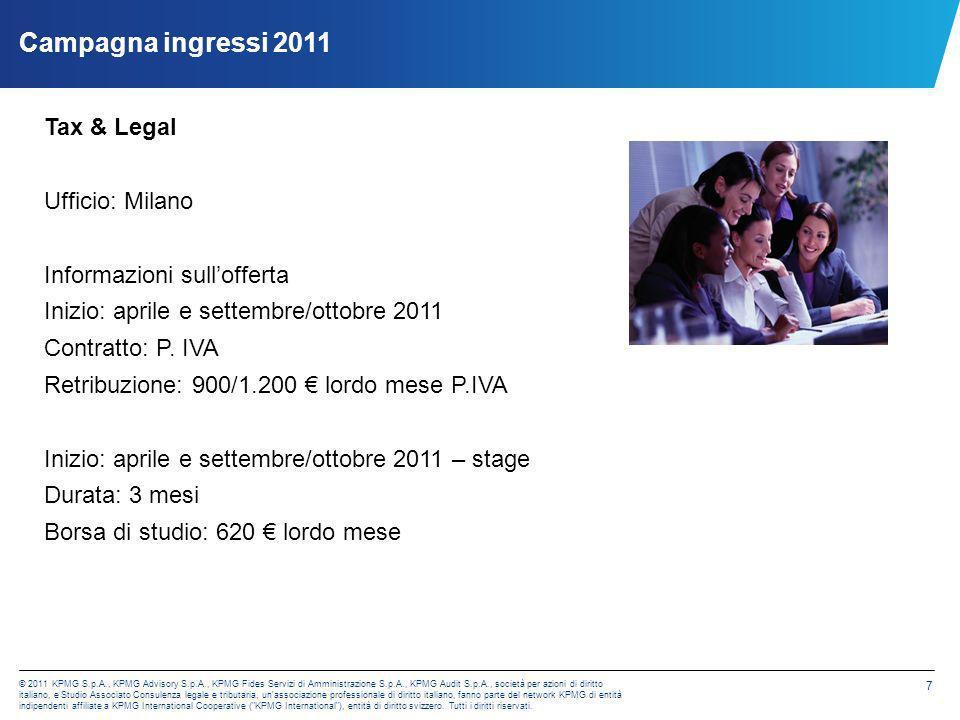© 2011 KPMG S.p.A., KPMG Advisory S.p.A., KPMG Fides Servizi di Amministrazione S.p.A., KPMG Audit S.p.A., società per azioni di diritto italiano, e Studio Associato Consulenza legale e tributaria, un associazione professionale di diritto italiano, fanno parte del network KPMG di entità indipendenti affiliate a KPMG International Cooperative ( KPMG International ), entità di diritto svizzero.