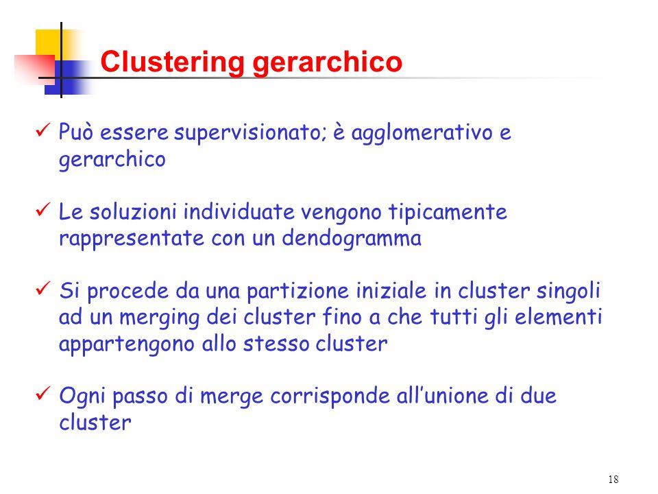 18 Clustering gerarchico Può essere supervisionato; è agglomerativo e gerarchico Le soluzioni individuate vengono tipicamente rappresentate con un dendogramma Si procede da una partizione iniziale in cluster singoli ad un merging dei cluster fino a che tutti gli elementi appartengono allo stesso cluster Ogni passo di merge corrisponde allunione di due cluster