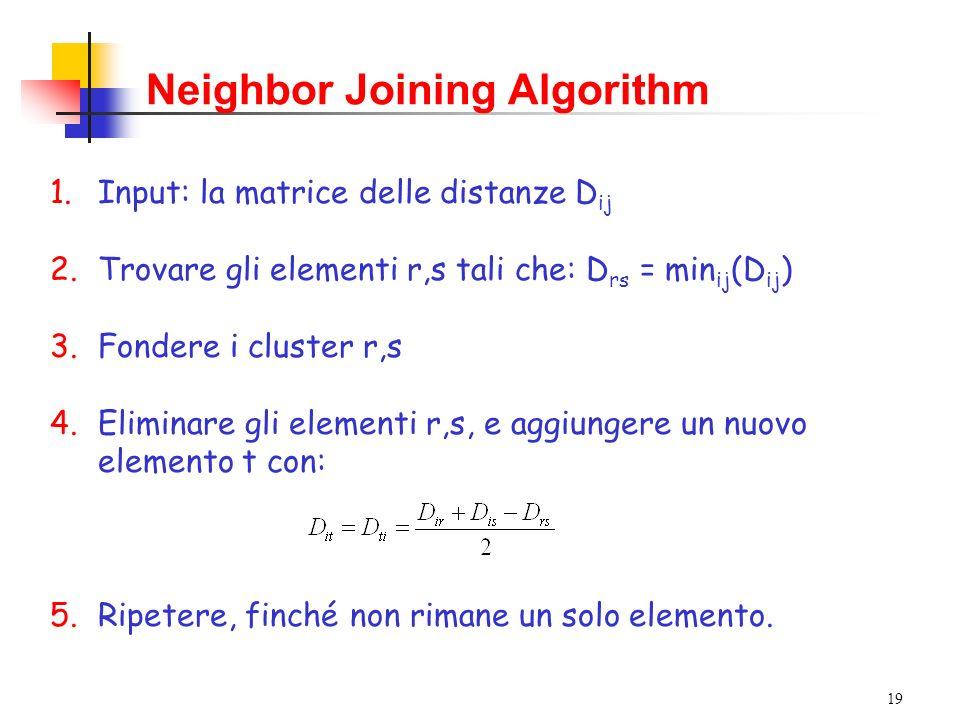 19 1.Input: la matrice delle distanze D ij 2.Trovare gli elementi r,s tali che: D rs = min ij (D ij ) 3.Fondere i cluster r,s 4.Eliminare gli elementi r,s, e aggiungere un nuovo elemento t con: 5.Ripetere, finché non rimane un solo elemento.