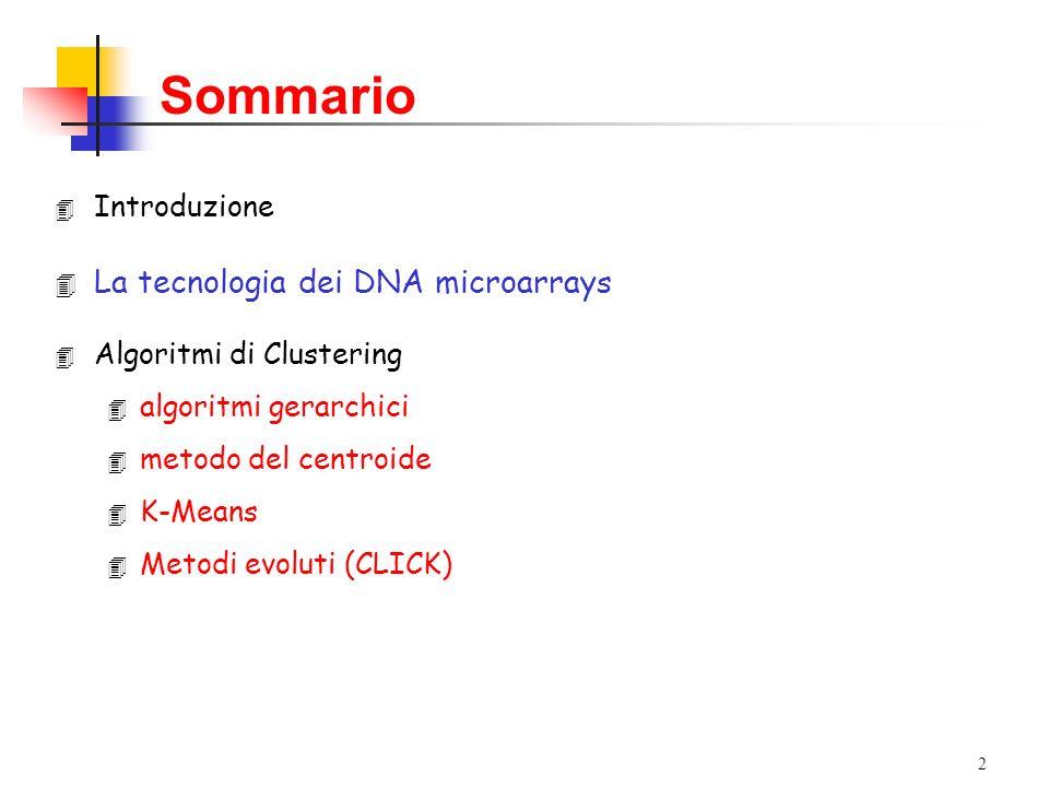 2 4 Introduzione 4 La tecnologia dei DNA microarrays 4 Algoritmi di Clustering 4 algoritmi gerarchici 4 metodo del centroide 4 K-Means 4 Metodi evoluti (CLICK) Sommario
