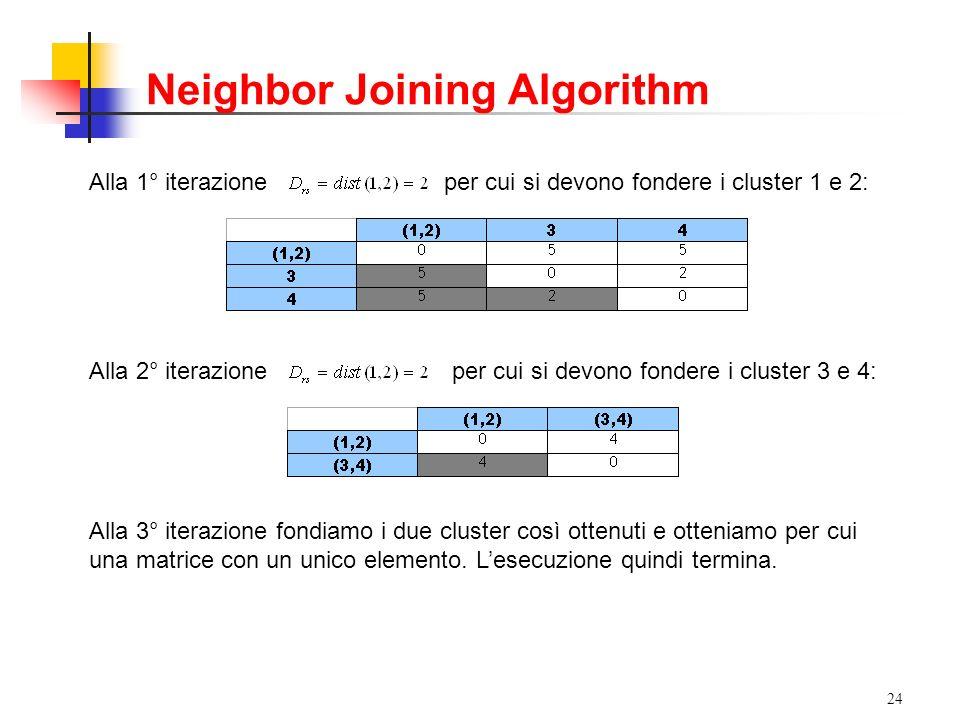24 Alla 1° iterazioneper cui si devono fondere i cluster 1 e 2: Alla 2° iterazioneper cui si devono fondere i cluster 3 e 4: Alla 3° iterazione fondiamo i due cluster così ottenuti e otteniamo per cui una matrice con un unico elemento.
