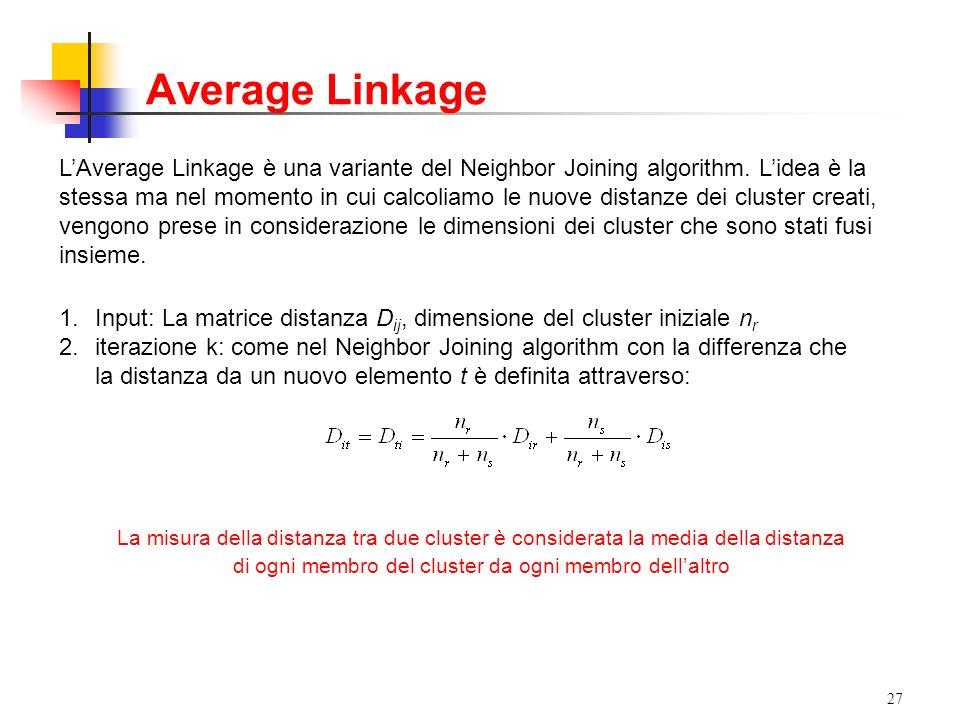 27 LAverage Linkage è una variante del Neighbor Joining algorithm.