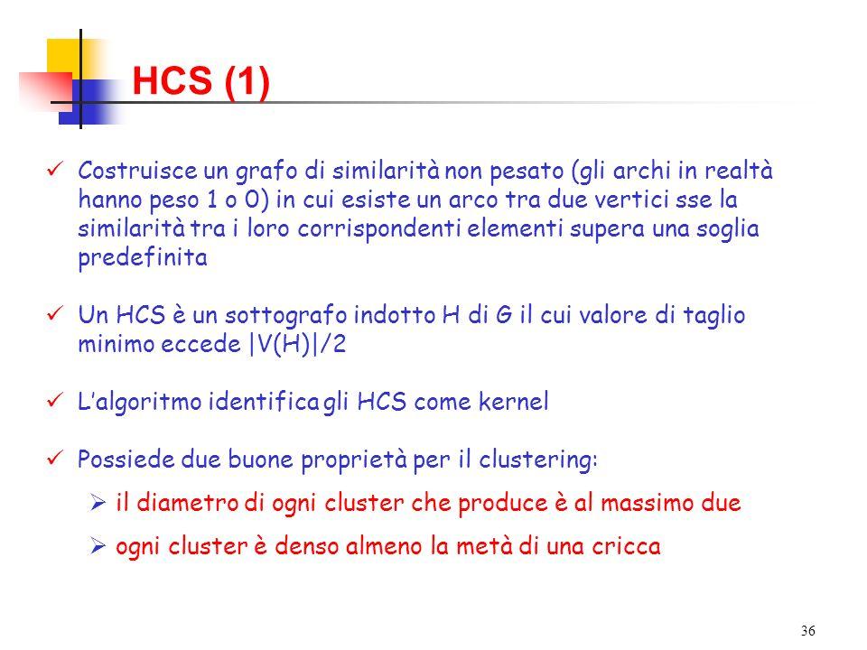 36 HCS (1) Costruisce un grafo di similarità non pesato (gli archi in realtà hanno peso 1 o 0) in cui esiste un arco tra due vertici sse la similarità tra i loro corrispondenti elementi supera una soglia predefinita Un HCS è un sottografo indotto H di G il cui valore di taglio minimo eccede |V(H)|/2 Lalgoritmo identifica gli HCS come kernel Possiede due buone proprietà per il clustering: il diametro di ogni cluster che produce è al massimo due ogni cluster è denso almeno la metà di una cricca