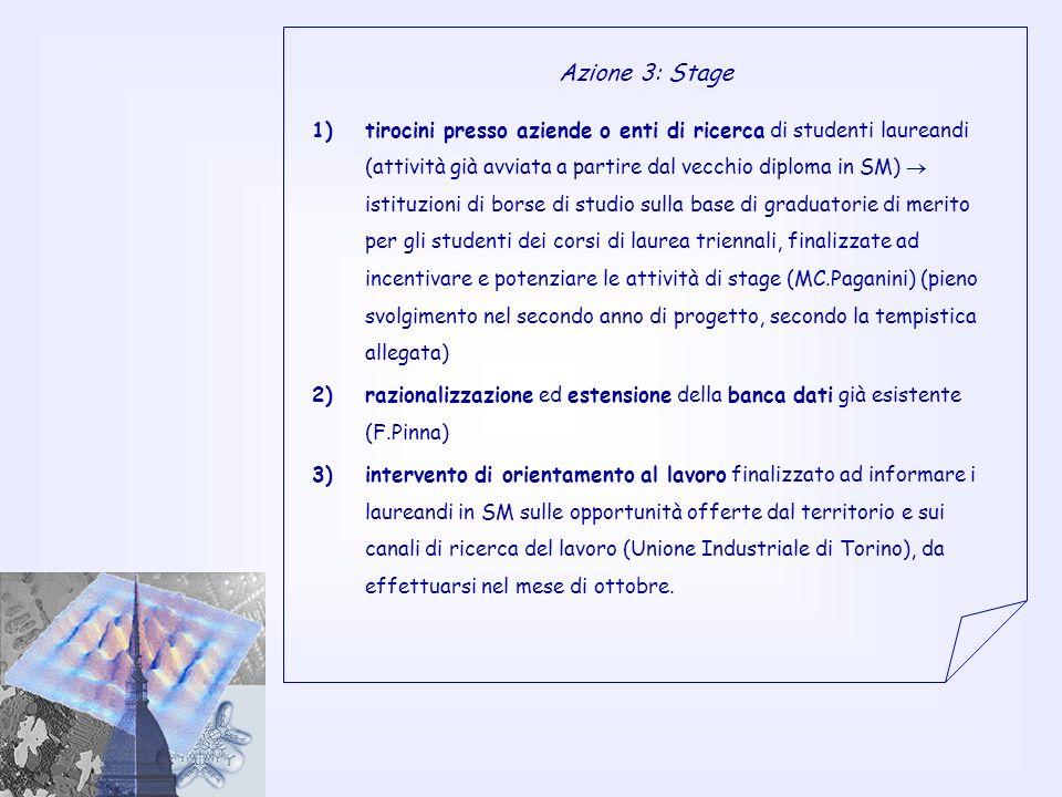 Azione 3: Stage 1)tirocini presso aziende o enti di ricerca di studenti laureandi (attività già avviata a partire dal vecchio diploma in SM) istituzioni di borse di studio sulla base di graduatorie di merito per gli studenti dei corsi di laurea triennali, finalizzate ad incentivare e potenziare le attività di stage (MC.Paganini) (pieno svolgimento nel secondo anno di progetto, secondo la tempistica allegata) 2)razionalizzazione ed estensione della banca dati già esistente (F.Pinna) 3)intervento di orientamento al lavoro finalizzato ad informare i laureandi in SM sulle opportunità offerte dal territorio e sui canali di ricerca del lavoro (Unione Industriale di Torino), da effettuarsi nel mese di ottobre.