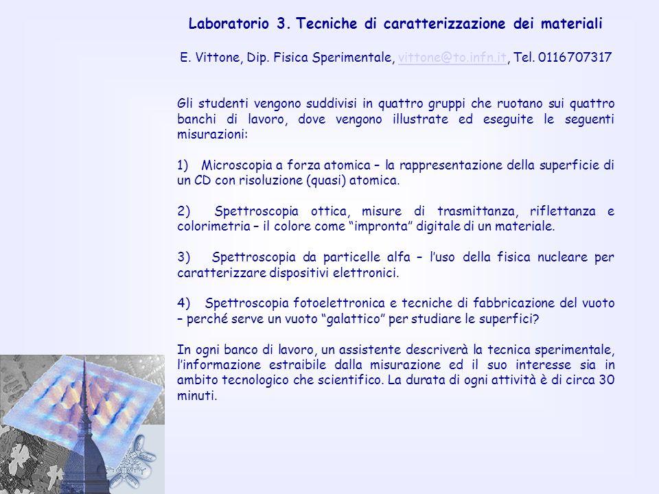 Laboratorio 3. Tecniche di caratterizzazione dei materiali E. Vittone, Dip. Fisica Sperimentale, vittone@to.infn.it, Tel. 0116707317vittone@to.infn.it