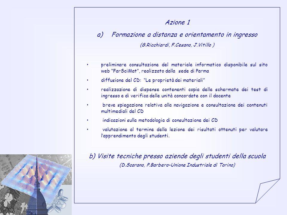 Azione 1 a)Formazione a distanza e orientamento in ingresso (G.Ricchiardi, F.Cesano, J.Vitillo ) preliminare consultazione del materiale informatico d